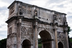 Arch of Constantine, the triumphal arch in Rome, located between the Coliseum and the Palatine, Italy