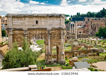 Arch of Emperor Septimius Severus and the Roman Forum in Rome, Italy