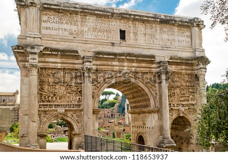 Arch of Emperor Septimius Severus in the Roman Forum, Rome, Italy
