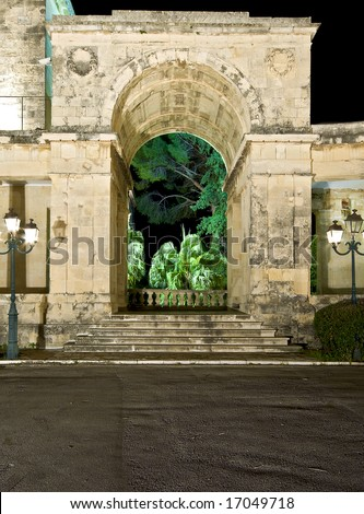Arch of old British palace by night at Corfu island, Greece