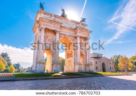 Arch of Peace, or Arco della Pace, city gate in the centre of the Old Town of Milan in the sunny day, Lombardia, Italy. #786702703