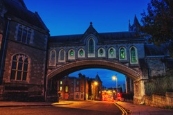Arch of the Christ Church Cathedral in Dublin, Ireland at night