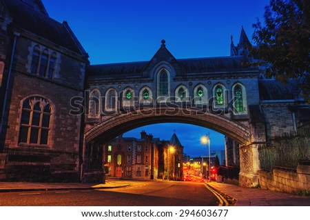 Arch of the Christ Church Cathedral in Dublin, Ireland at night #294603677