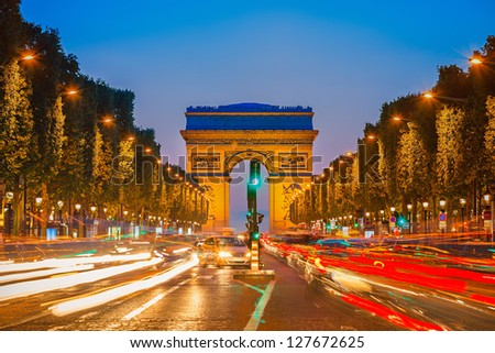 Arch of Triumph at night Paris