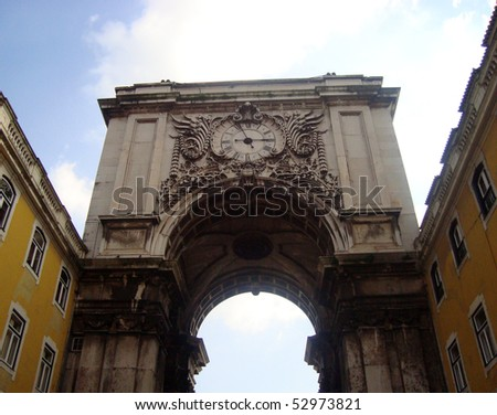 Arch on Commerce square in Lisbon, Portugal