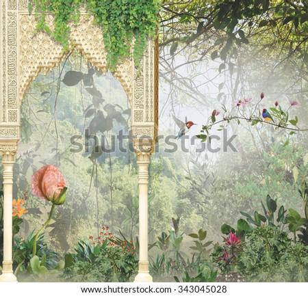 stock photo arch on the background of the jungle 343045028 - Каталог — Фотообои «Балконы, арки»
