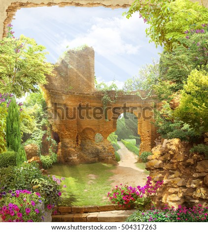 arch overlooking a garden. the...