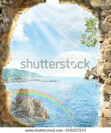 stock photo arch with waterfall 450207553 - Каталог — Фотообои «Балконы, арки»