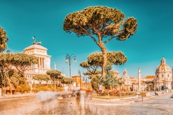 Archaeological and historical objects in Rome, united by the name - Roman Forum.Church Chiesa dei Santi Luca e Martina on street  Via dei Fori Imperiali.