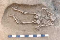 Archaeological excavation. Human remains (bones, skeleton and skull) in the ground, with little founding artefacts in the tomb and measure scale. Outdoors, copy space, close up.