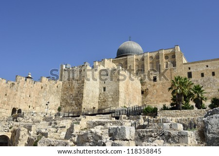 Archaeological park in Old City of Jerusalem, Israel.