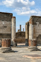Archaeological Park of Pompeii. The remains of the Basilica, the most sumptuous building of the Forum. Campania, Italy