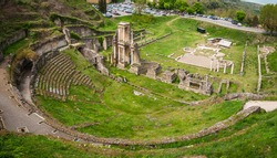 Archaeological remains of Roman theater in Volterra, Tuscany, Italy