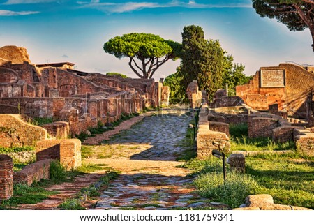 Archaeological Roman empire street view in Ancient Ostia  - Rome - Italy