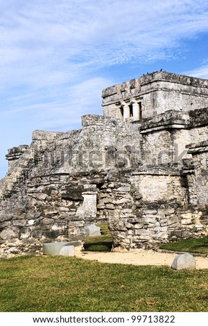 archaeological ruins of Tulum in Mexico with blue sky