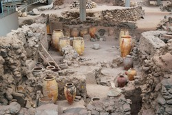 Archaeological site discovered after excavation  with urns and other utensils for display. It is one the UNESCO protected heritage site
