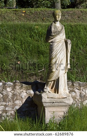 Archaeological site of ancient Dion of Katerini city in north Greece Temple of Isis with the Statue of the Goddess