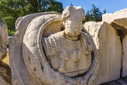 Archaeological site of Eleusis (Eleusina). Roman sculptures. The Roman approach to the the center of the sanctuary was built by Hadrian and construction was completed by Marcus Aurelius.