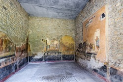 Archaeological site of Pompeii, ancient city near Naples and Vesuvius. Excavated ruins that visitors can freely explore.
