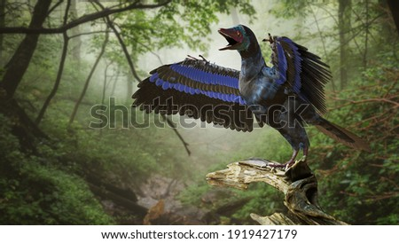 Archaeopteryx, bird-like dinosaur from the Late Jurassic period around 150 million years ago (3d rendering)