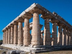 Archaic Temple or First Temple of Hera in Paestum, Italy also called Basilica, an Ancient Greek Temple Ruin with Doric Columns
