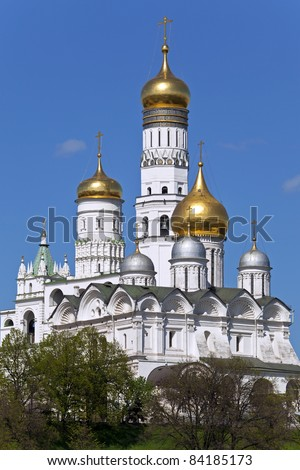 Archangel Cathedral and Ivan the Great Bell in the Moscow Kremlin. Moscow. Russia.