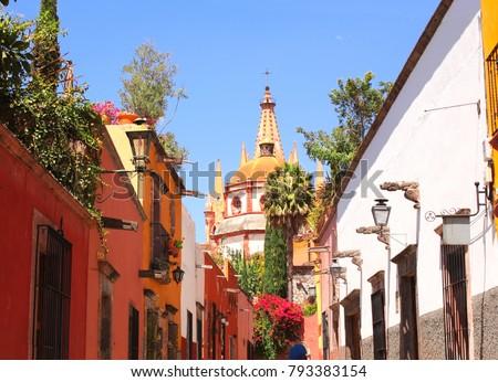 Archangel church Dome Steeple. View from Aldama Street Parroquia, San Miguel de Allende, Guanajuato state, Mexico, North America. UNESCO world heritage site