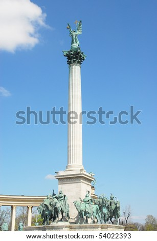 Archangel Gabriel on column at the Heroes' Square, Budapest, Hungary,