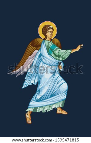 """Archangel Gabriel. Part of Illustration """"Annunciation to the Blessed Virgin Mary"""". Art  in Byzantine style"""