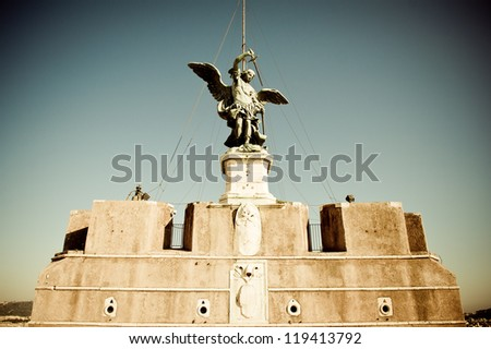 Archangel Michael a top of Castel Sant'Angelo Rome, Italy