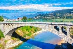 Arched bridge across Tara river in Mojkovac town from Montenegro
