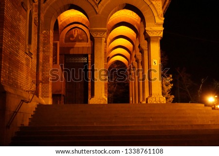 Arched Corridor at a beautiful Cathedral in Eastern Europe night. #1338761108