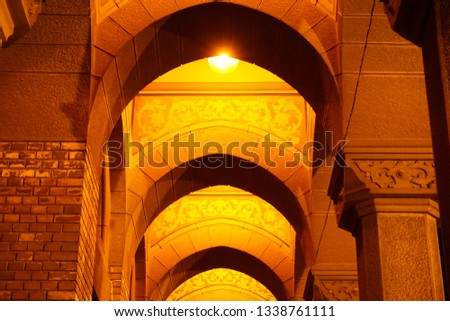 Arched Corridor at a beautiful Cathedral in Eastern Europe night. #1338761111