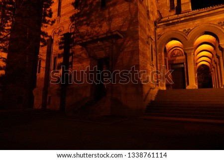 Arched Corridor at a beautiful Cathedral in Eastern Europe night. #1338761114