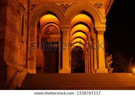 Arched Corridor at a beautiful Cathedral in Eastern Europe night. #1338761117