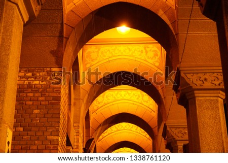Arched Corridor at a beautiful Cathedral in Eastern Europe night. #1338761120