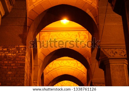Arched Corridor at a beautiful Cathedral in Eastern Europe night. #1338761126