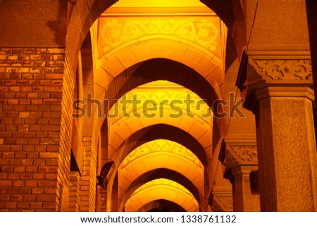 Arched Corridor at a beautiful Cathedral in Eastern Europe night. #1338761132