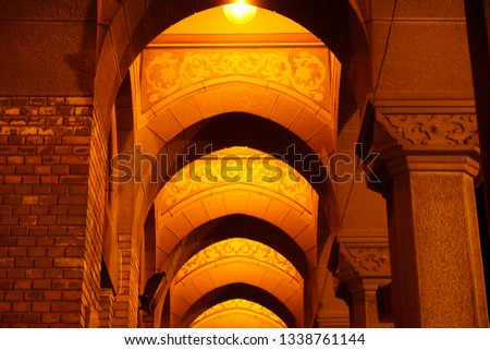 Arched Corridor at a beautiful Cathedral in Eastern Europe night. #1338761144