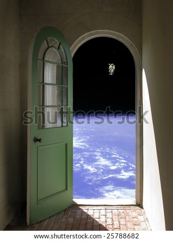 Arched doorway opening on black sky with Nasa image of astronaut