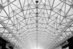 Arched roof steel structure abstract for open space (Black and White)