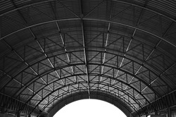 Arched roof steel structure the design for Food court open space.