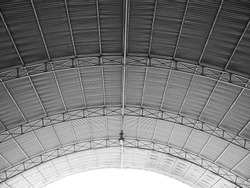 Arched roof steel structure the design for Food court open space