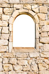 Arched window in a stone wall