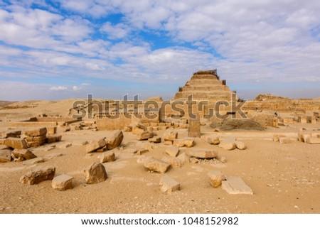 Archeological remain in the Saqqara necropolis, Egypt. UNESCO World Heritage Stock photo ©