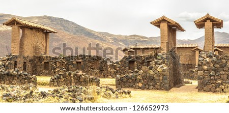 Archeological site of the Temple of Wiracocha, temple of Viracocha at Chacha (Raqchi), Peru, South America