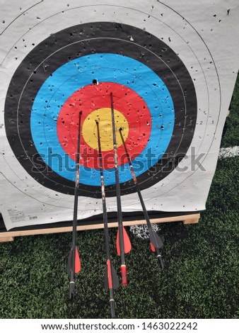 archery arrows grouped on target #1463022242