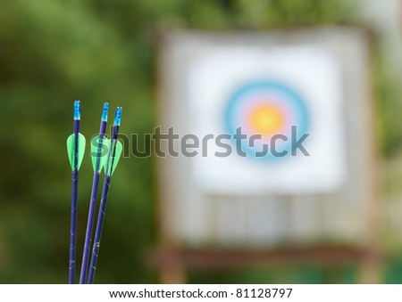 Archery equipment at spring outdoors - bow arrows target