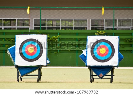 Archery shooting target in the field stadium