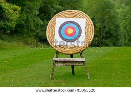 Archery shooting target in the forest - stock photo